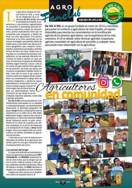 Portada del artículo en Profesional AGRO del Grupo DE SOL A SOL