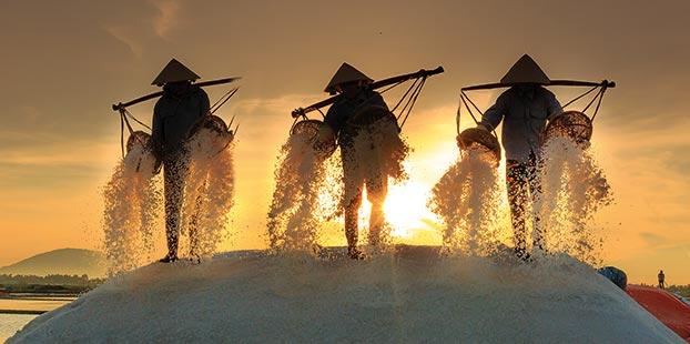 Trabajadores de la sal.